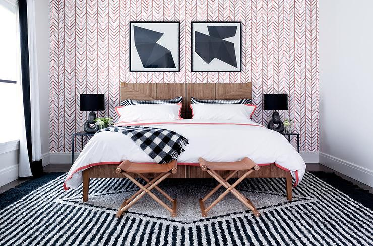 Pink and Black Bedroom with Pink Accent Wall - Contemporary ...