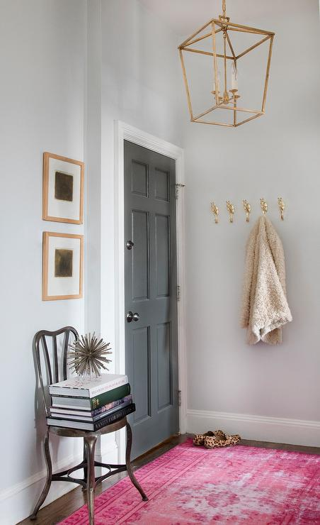 Pink Foyer Rug : Benjamin moore kendall charcoal eclectic entrance