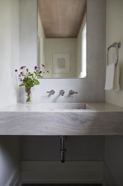 Marble Sink Vanity In Powder Room Transitional Bathroom