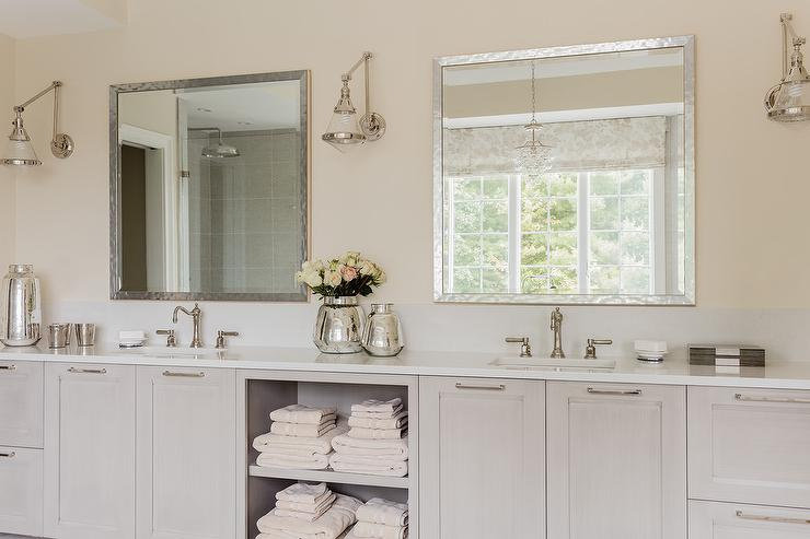 Gray Double Washstands With Square Beveled Mirrors