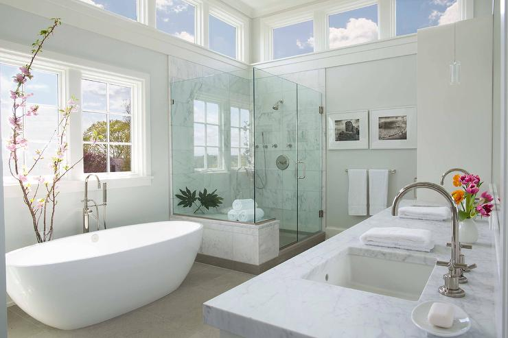 Oval Bathtub with Cherry Blossom Branch - Transitional - Bathroom