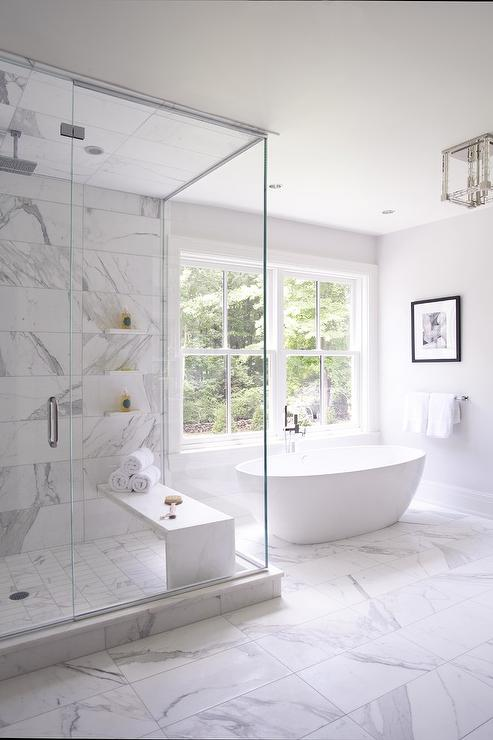 Bathtub Book Across From Shower With Barrel Ceiling