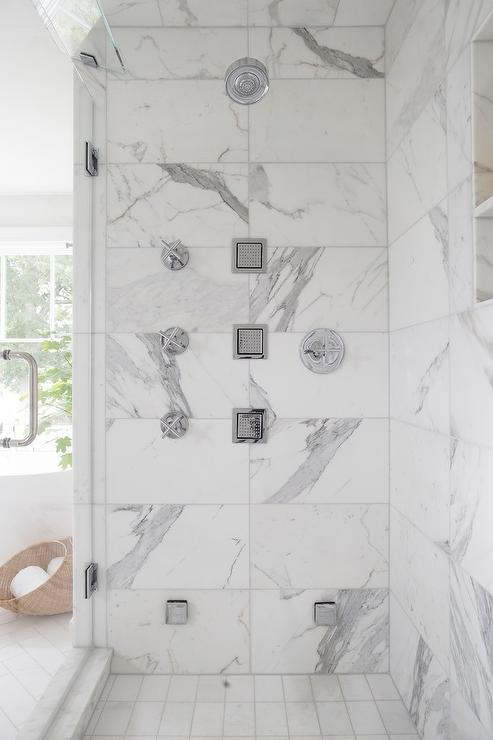Marble Shower With Multiple Shower Sprays Transitional