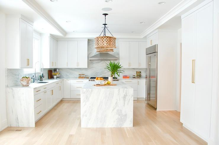 Marble Waterfall Center Island With Wood Drum Light Pendants Transitional Kitchen