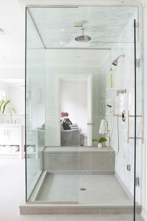 White Shower Tiles With Gray Shower Bench