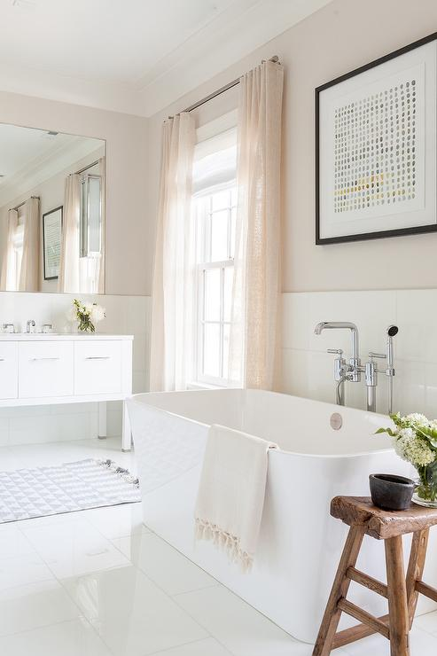 white porcelain floor tile. Romantic White And Pink Bathroom Is Equipped With A Rustic Saddle Stool  Placed On Porcelain Floor Tiles Beside Rectangular Freestanding Bathtub White Porcelain Bathroom Floor Tiles Design Ideas