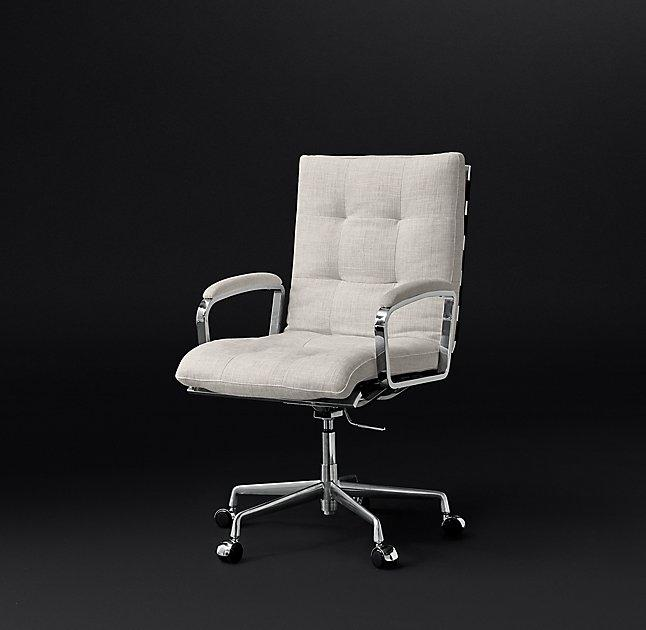 concave white swivel office chair