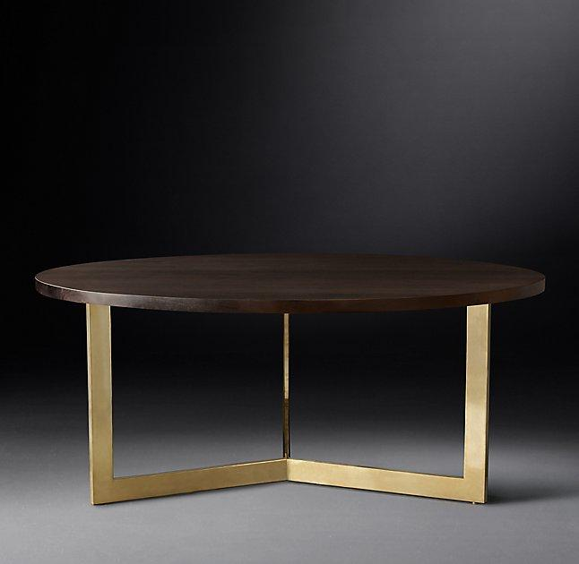 Linear Round Brass Legs Dining Table