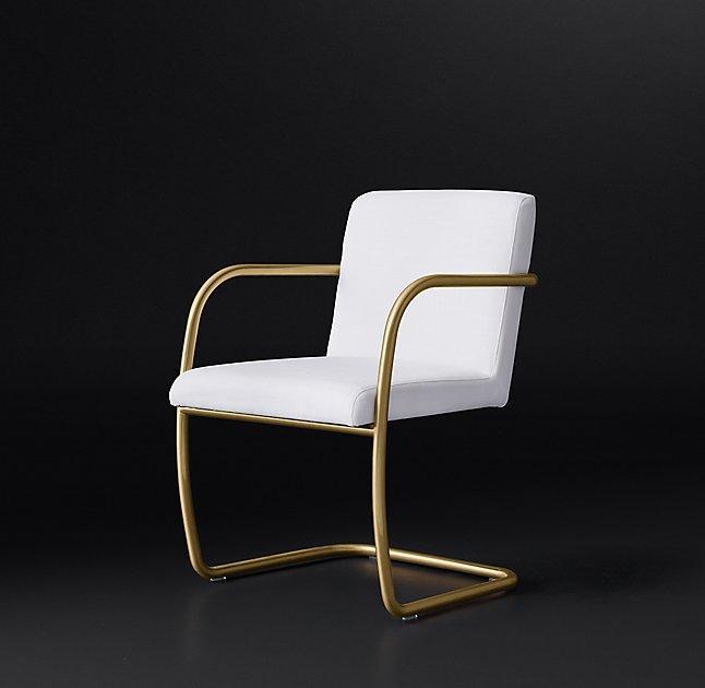 Randall Gold White Fabric Armchair