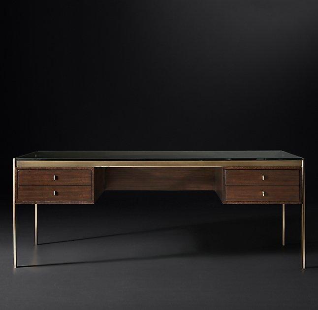 Reynor Rectangle Brown Walnut Glass Desk