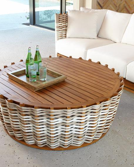 San martin outdoor side table for Round rope coffee table