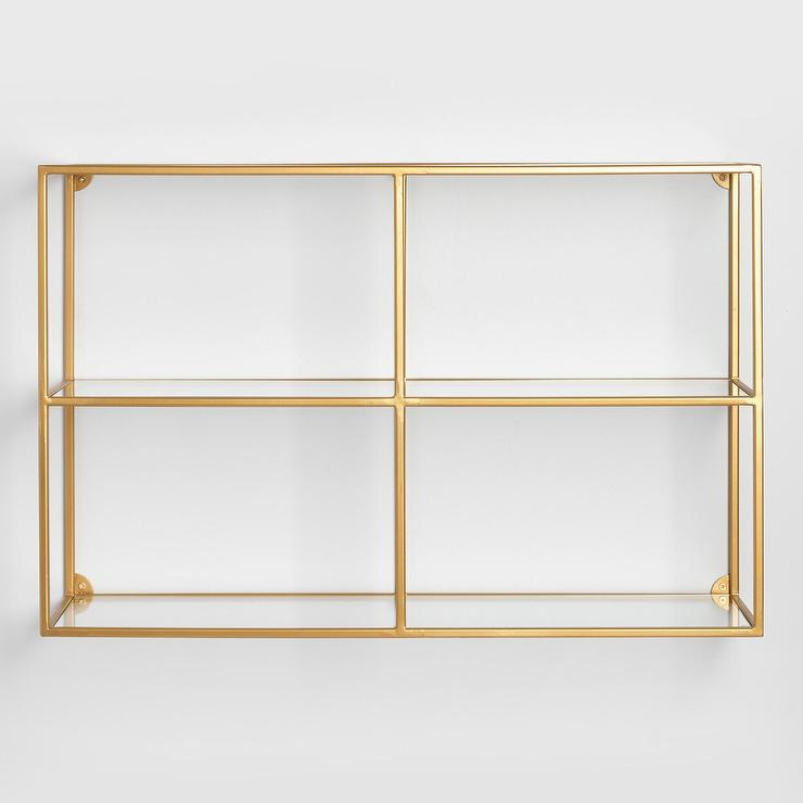 Clad Rectangular Gold Brackets Wall Shelf