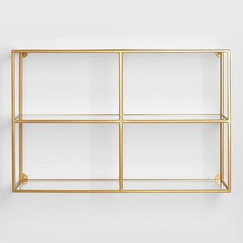 Clad Rectangular Gold Brackets Wall Shelf