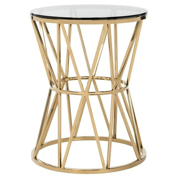 Delsy Glass Top Gold End Table