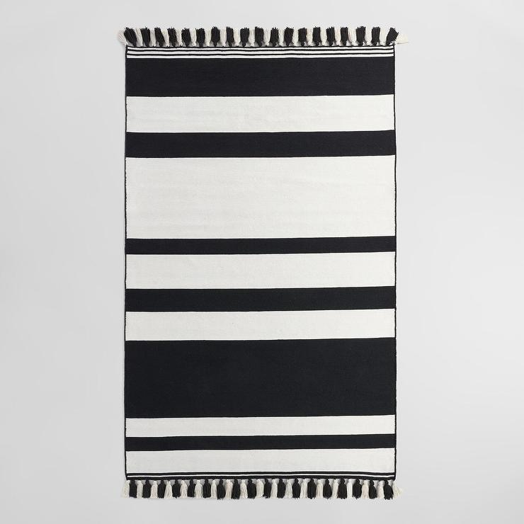 how rug and a black to striped white bedroom eclectic with cor enhance farmhouse d