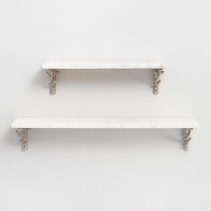 Grey Marble Wall Mounted Shelf