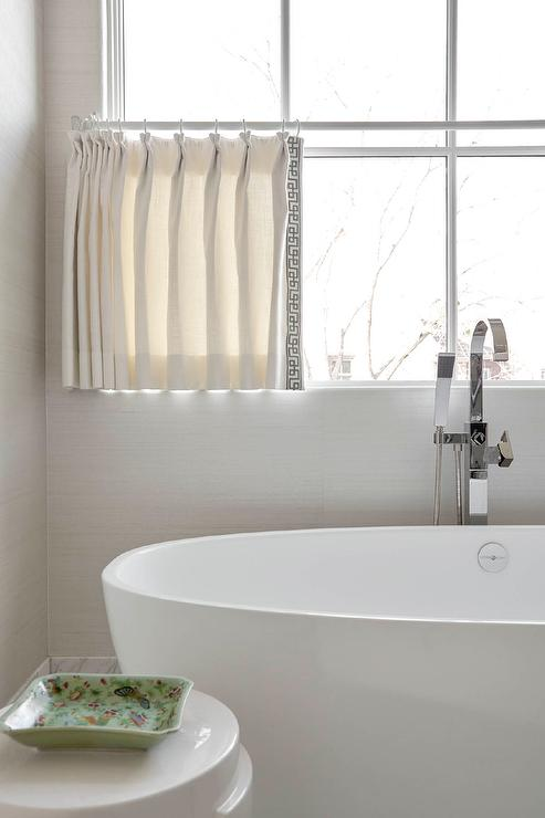 White Bathroom Curtains With Black Trim