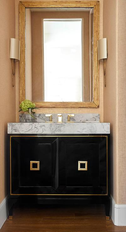 Gold Framed Bathroom Mirrors glass and brass sink vanity with gold framed mirror - contemporary