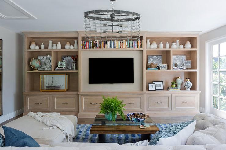 Light Gray Wash Built In Tv Shelving Unit Transitional