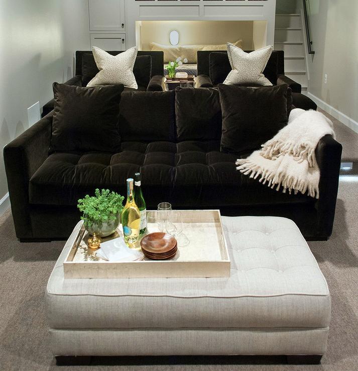Dark Brown Velvet Tufted Sofa with White Linen Ottoman ...