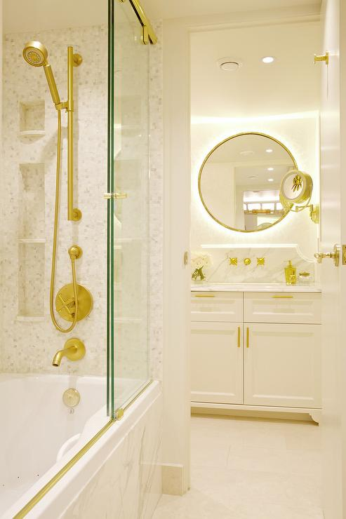 Drop In Bathtub with Sliding Glass Shower Doors on Brass Rails ...