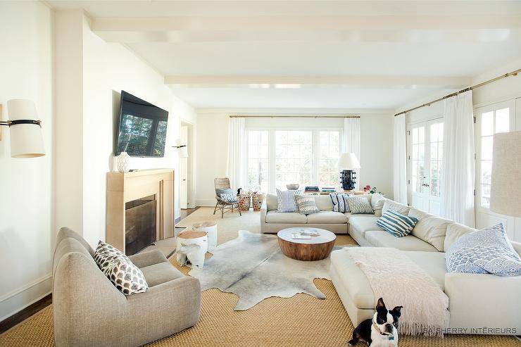 off white sectional with chaise lounge - transitional - living room