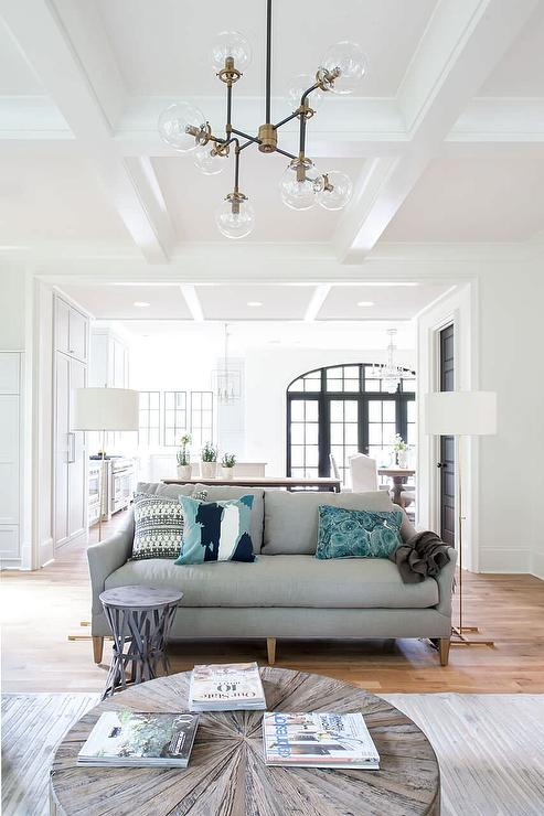Gray Sofa With Brass Floor Lamps Transitional Living Room