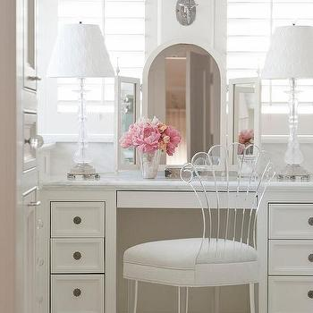Nice Built In Dressing Table With Lucite Vanity Chair
