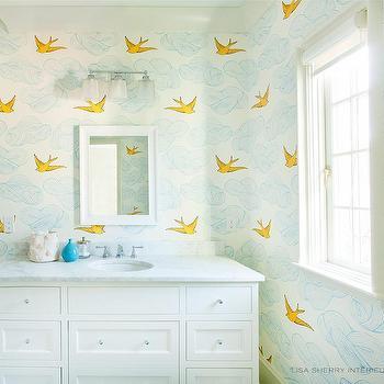 pink kid bathroom door with yellow washstand contemporary bathroom. Black Bedroom Furniture Sets. Home Design Ideas