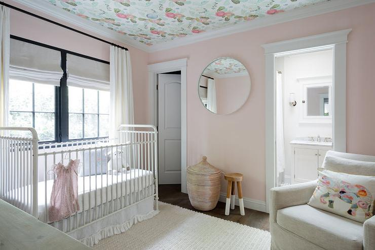 Soft Pink Nursery With Tan Slipcovered Glider