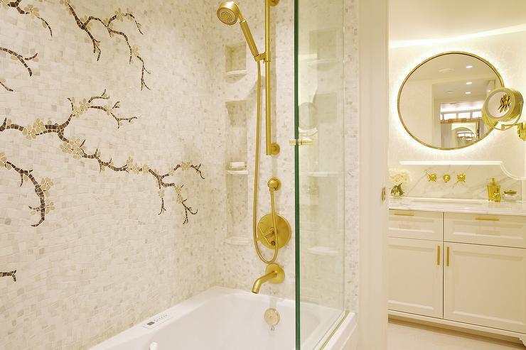 New Ravenna Mosaic Shower Tiles Transitional Bathroom
