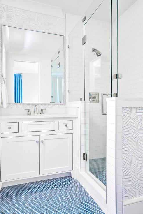 Magnificent White Kid Bathroom With Blue Penny Tile Floor Contemporary Download Free Architecture Designs Scobabritishbridgeorg