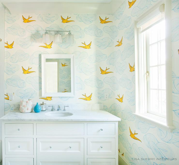 Blue And Yellow Bathroom Decor: Whimsical Bathroom Wallpaper