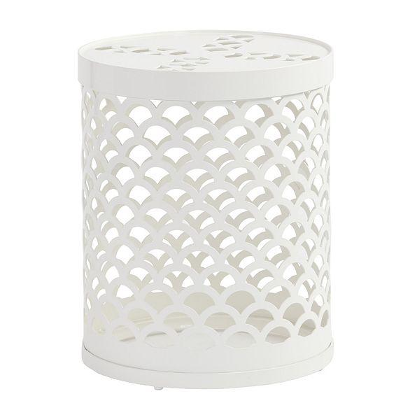 Lovely Maya White Scale Side Table