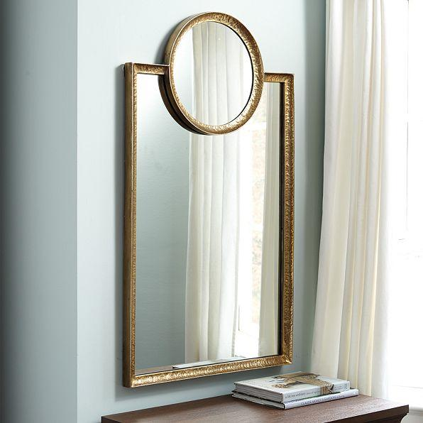 Industrial Hanging Wood Frame Mirror