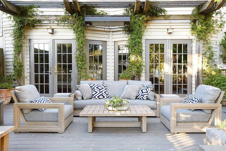 Light Taupe Outdoor Chairs And Coffee Table Transitional Deck Patio