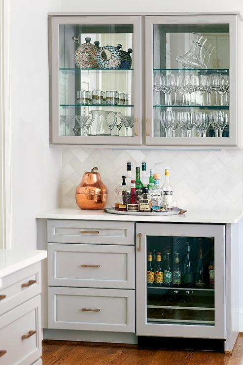 Gray kitchen bar with glass door beverage fridge for Built in drinks cabinet