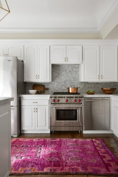 hot pink kitchen accessories zeal mat | Orange and Hot Pink Rug in White Kitchen - Transitional ...