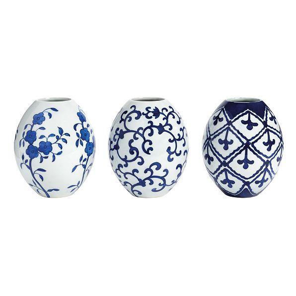 Petite White Blue Chinoiserie Vases