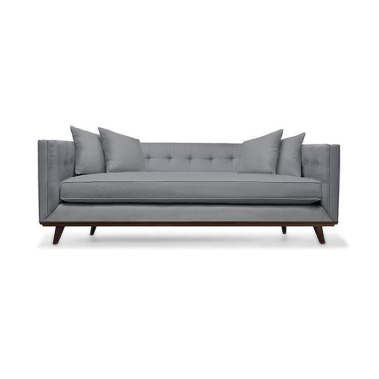 South Cone Gray Tufted Linen Sofa