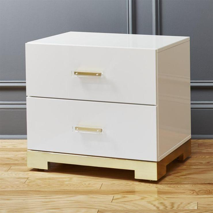 Victorian White Gold 2 Drawer Nightstand