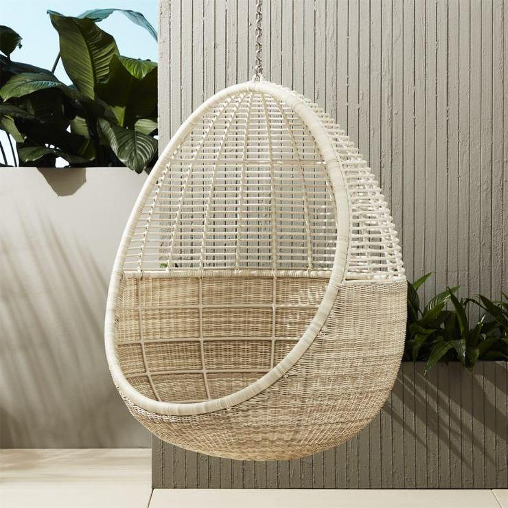 White Wicker Pod Hanging Chair