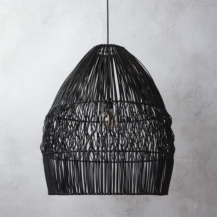Bell Black Wicker Pendant Light