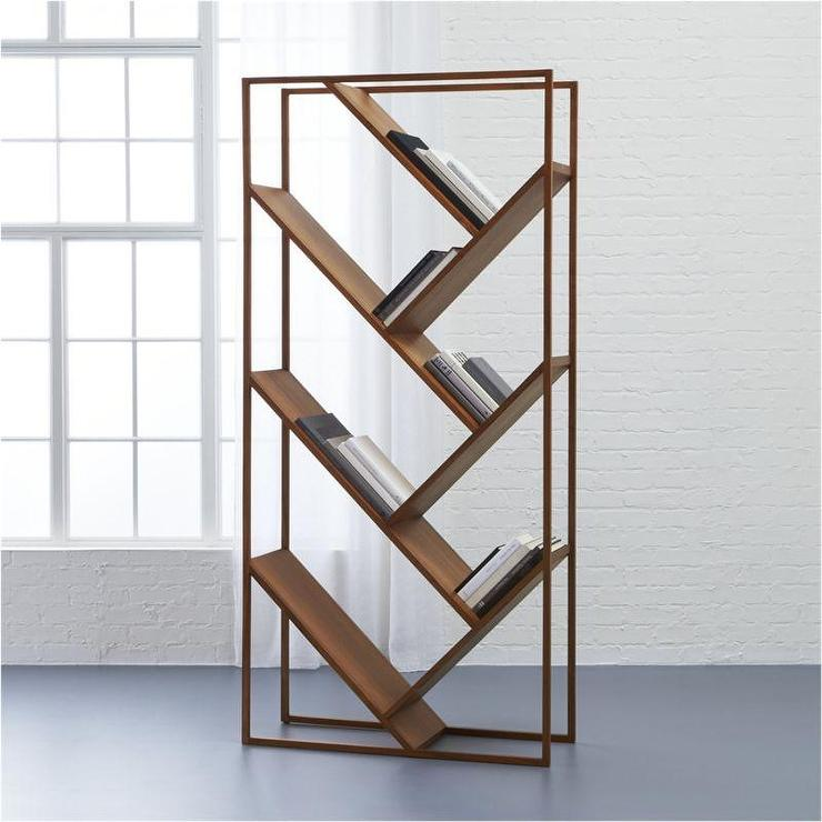 Vertical Slanted Shelves Wood Bookcase