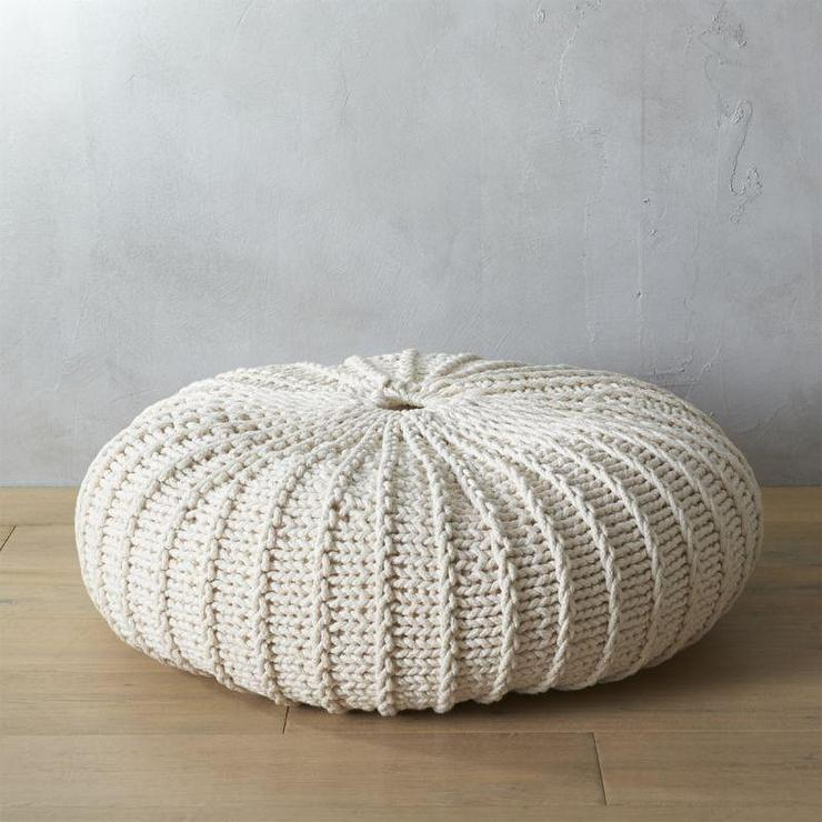 Jumbo White Knit Pouf Awesome How To Knit A Pouf Cover