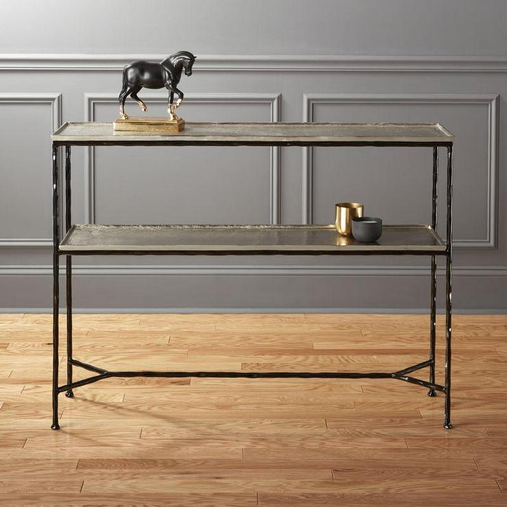 Superb Molten Black Metal Console Table