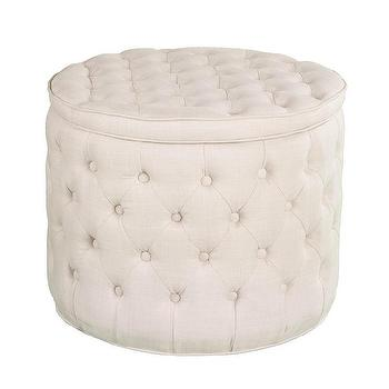 Ivory Tufted Storage Ottoman Bench With Nailhead Target