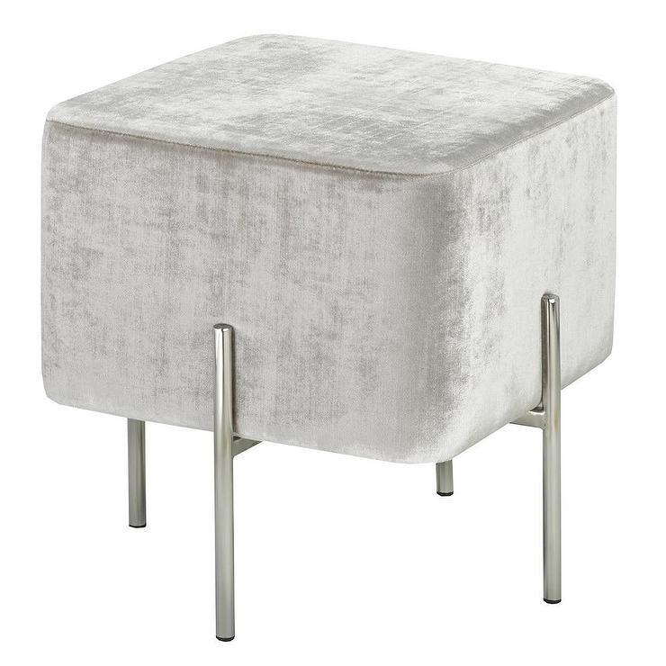 Excellent Cube White Velvet Steel Ottoman Creativecarmelina Interior Chair Design Creativecarmelinacom