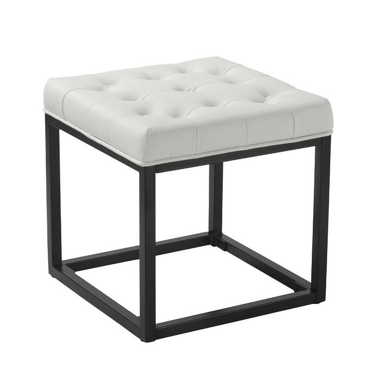 Swell Delia Cube Leather Tufted Ottoman Gmtry Best Dining Table And Chair Ideas Images Gmtryco