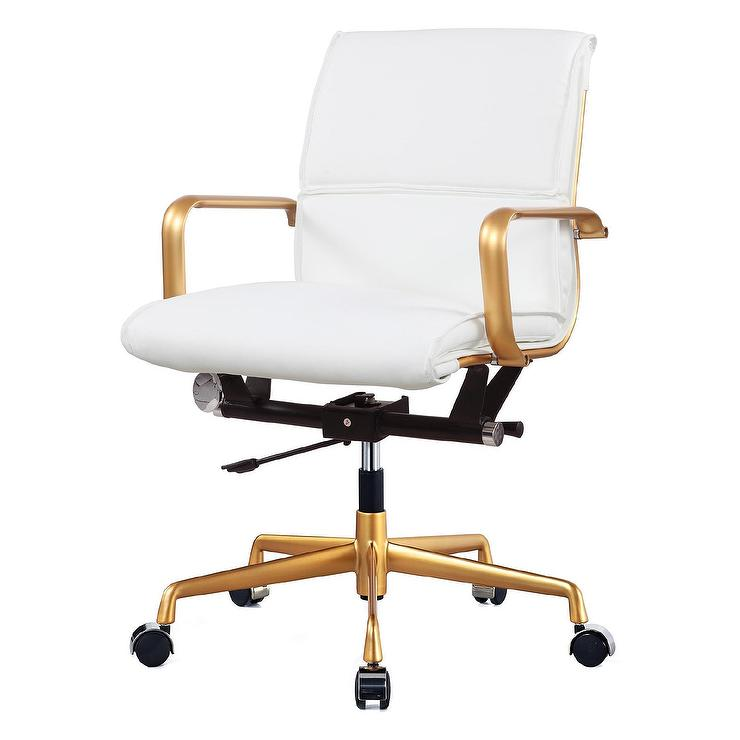 gold white leather office chair - Rolling Chair